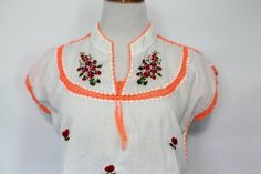 Vintage 80's Frida Style Embroidered Shirt / Mexican Crocheted Cotton Peasant Blouse Womens Clothing by RelovedClothingCo on Etsy