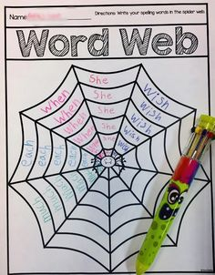 Word Web The perfect October word work activity! Word Work Activities, Spelling Activities, Language Activities, Teaching Activities, Teaching Reading, Classroom Activities, Teaching Tools, Second Grade Writing, 2nd Grade Ela