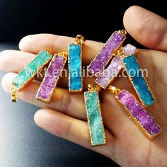 Natural long druzy bail pendants, colorful AA quality druzy rectangle bail pendants 24k real gold plated