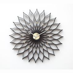 Mid-Century Modern Reproduction Sunflower Clock - Black Inspired by George Nelson