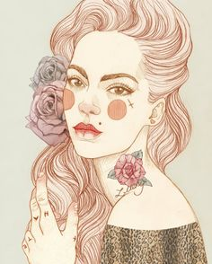 Liz Clements illustration x Art And Illustration, Tattoo Illustrations, Art Pop, Liz Clements, Art Vintage, Arte Sketchbook, Art Design, Art Inspo, Drawing People