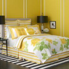 dormitorio habitacion cuarto pintado de amarillo y blanco