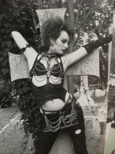#Goth girl in cemetery with chains, chains, chains