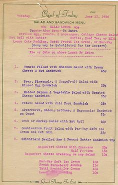 1936 Diner Lunch Menu.   I like how simple the soup & sandwich menu is here. Seems like every item offered is good for you.