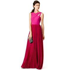 Rental Sachin & Babi Fuchsia Cross Gown (135 CAD) ❤ liked on Polyvore featuring dresses, gowns, pink, fuschia dress, pink evening dress, white v neck dress, sleeveless dress and white ball gowns
