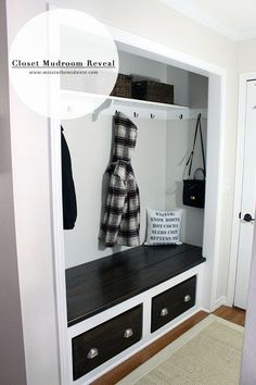 Front hall closet ideas marvelous entryway closet ideas home design and pictures front entrance closet ideas Closet Bench, Front Hall Closet, Entry Closet, Closet Mudroom, Attic Closet, Closet Doors, Shoe Closet, Coat Closet Organization, Home Organization