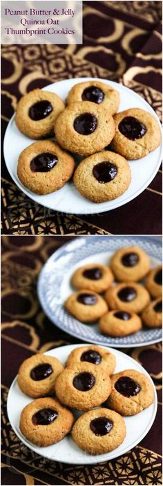 Peanut Butter and Jelly Thumbprint Quinoa Oat Cookies  #ComfortFoodFeast #quinoa #cookies #glutenfree #recipe #healthy @Abu mnsar Saad Network
