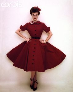 1950s fashion: red coat dress with Peter Pan collar