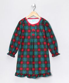 Take a look at this Red & Green Plaid Flannel Nightgown - Toddler & Girls by Candlesticks on #zulily today!