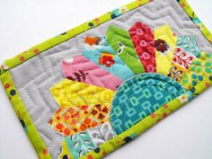 "5"" x 8"" half dresden mug rug. I like this idea for a tiny pillow to match the tiny baby doll quilt I'm making for A."