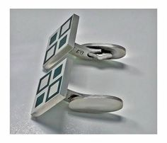 View this item and discover similar for sale at - Georg Jensen 'Mosaic' green enamel Cufflinks, Solid Sterling dark green enamel squares cufflinks with various sized open and solid squares in green Antique Cufflinks, Scandinavian, Mosaic, Enamel, Jewellery, Antiques, Green, Collection, Design