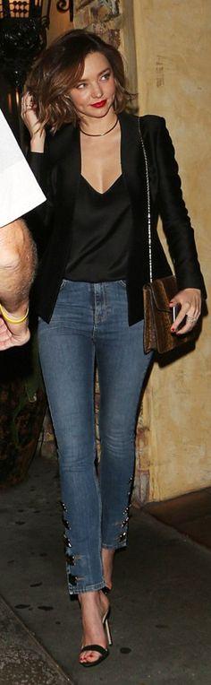 Miranda Kerr: Jacket – Brock Collection Shirt – The Row Jeans – Anthony Vaccarello Purse – Bvlgari Necklace – Jennifer Fisher Shoes – Manolo Blahnik