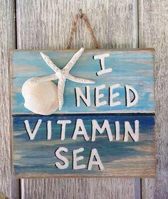 Ocean Pallet Art – Wooden Vitamin Sea Sign, Seaside Decor, Upcycled Beach Art, Coastal Sea Wall Art, Nautical Home Decor - Fisch Krafts Ideen Seaside Decor, Beach House Decor, Coastal Decor, Beach Houses, Ocean Home Decor, Beach House Furniture, Coastal Interior, Beach Wall Decor, Arte Pallet