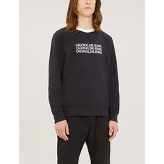 Ck Jeans Repeat Logo-print Regular-fit Cotton-blend Jumper In Black Ck Calvin Klein, Calvin Klein Jeans, Ck Jeans, Minimal Fashion, Mens Sweatshirts, Repeat, Jumper, Graphic Sweatshirt, Logo