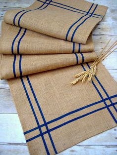 Items similar to Burlap table runner with Navy Blue Stripes / Nautical Runner / Rustic Runner / Cabin Decor / Wedding Runner / Cottage Decor /Beach Decor on Etsy Farmhouse Table Runners, Burlap Table Runners, Rustic Table, Rustic Chic, Rustic Decor, Country Decor, Western Decor, Shabby Chic, Boho Home