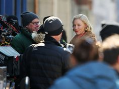 """Cate Blanchett praises Cincinnati. Photo: Academy award winning actress, Cate Blanchett, center, works on a scene during the filming of """"Carol,"""" a movie set in the 1950's in New York about a department store clerk who dreams of a better life for an older, married woman. It's directed by Todd Haynes, at left, in glasses. The production was filming on 12th and Walnut in Over-The-Rhine, March 24, 2014. The Enquirer/Liz Dufour"""