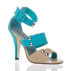 Great color palette and hot ankle strap construction make this a very on trend spring and summer heel
