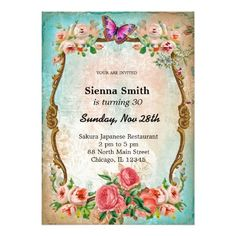 Vintage Birthday Style Personalized Invite Invitations Parties Custom