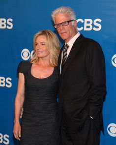 Actors Elisabeth Shue and Ted Danson attend the 2012 CBS Upfronts at The Tent at Lincoln Center on May 16 2012 in New York City