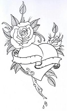 Tattoo Coloring Book Pages Beautiful Roseheart Outline 1 by Vikingtattooviantart On Colouring Pages, Coloring Books, Rose Heart Tattoo, Heart Tattoos, Heart Rose Drawing, Rosary Tattoos, Bracelet Tattoos, Mom Tattoos, Skull Tattoos