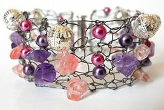 Bracelet Cuff  With Amethyst Cherry Quartz and Pearls  by imwyred, $48.00