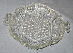 Beautiful Clear Pressed Glass Candy Condiment Dish Vintage