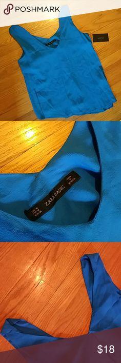 New Zara basics flowy blouse NWT gorgeous blue color, free flowing blouse. Zara Tops Blouses