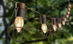 Light up your garden with this stylish set of ten solar-powered cage lantern string lights.