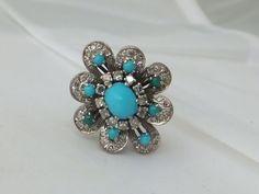 Stunning 18k gold Turquoise & 1.30 carat Diamond large cluster ring