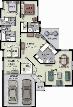 Plano de hermosa casa con 4 dormitorios y 2 garajes, estilo moderno-2
