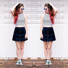 @rechcamila #fashion Look com saia de botões e cropped listrado! Look super verão e confortável.