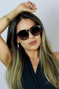 11404ca1ce62a Óculos de Sol Ma Chérie Ravena Redondo Preto » Feminino