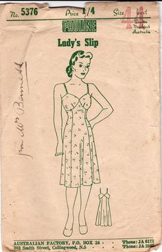 Pauline 5376 RARE Plus Size Womens Shaped Full Slip 40s Vintage Sewing Pattern Bust 44 inches