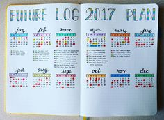 "101 Likes, 7 Comments - Micah (@my_blue_sky_design) on Instagram: ""NEW Bullet Journal Setup - Future Log Have I mentioned how fun it has been setting up my second…"""