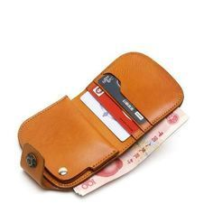 Handmade leather vintage women short wallet wallet purse wallet