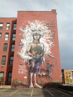 Mmural in Rochester. (Herakut, Giant Storybook Project, street art)
