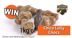 Enter now and go in the draw to WIN 1 kg of our new Chico Lolly Chocs, a luscious explosion of pure milk chocolate… and then the soft chewy Chico centre. Competition ends 12pm Monday 15th July 2015.