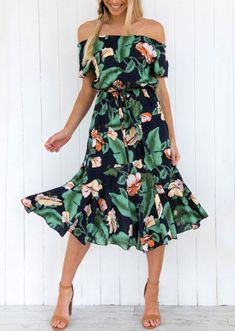 Floral Dresses for spring, Off shoulder dress with flowers, cute dress with ruffled skirt and heels, casual outfit