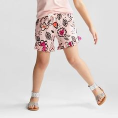 Girls' Challis Fashion Shorts - Cat & Jack™ Daydream Pink - image 1 of 3