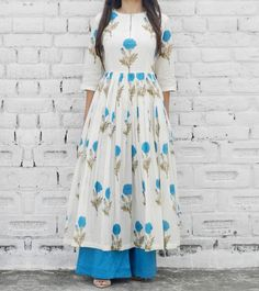 Blue & White Cotton Printed Tunic & Palazzo Set