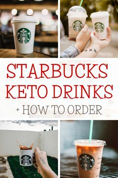 17 Starbucks Keto Drinks you need to try! Includes ice coffee, blended drinks, hot tea and coffee, iced mocha, and the famous pink drink! Plus 3 insider tips to help you order low carb at Starbucks! Starbucks Sugar Free Syrups, Low Carb Starbucks Drinks, Pink Starbucks, Low Carb Drinks, Blended Drinks, Blended Coffee, Iced Coffee, Coffee Cups, Skinny Caramel Macchiato