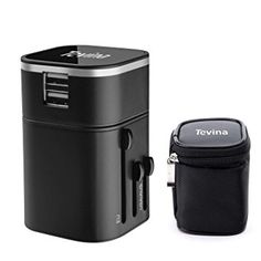 Travel Adaptor -Tevina Travel Charger Two USB Ports Universal World Wide All-in-one Wall Charger Adapter Plug Built-in 3.2 A For Home (Black)