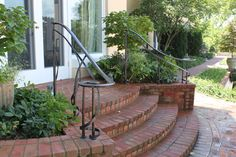 Maynard Studios - Our style is our client's style. It's our handwriting, but it's their story, told one tool mark at a time. Wrought Iron Porch Railings, Porch Handrails, Exterior Handrail, Outdoor Handrail, Front Porch Railings, Brick Porch, Front Porch Steps, Patio Railing, Porch Stairs
