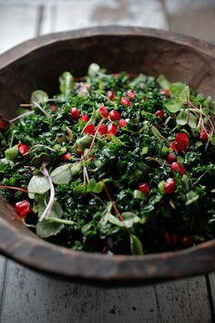 Kale Salad with Gojis and Walnuts