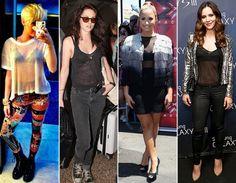"""Jeitos de usar - Blusas Blusas basiquinhas ganham status fashion quando contam com malhas fininhas, que deixam a lingerie à mostra. Para sair à noite, há opções em tecidos que são mesmo só uma """"telinha"""" - para usar é preciso estar com tudo em cima e um bom sutiã preto!   Quem usou: Miley Cyrus, Kristen Stewart, Demi Lovato e Katharine Mcphee"""