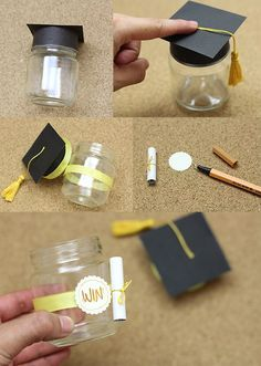 """This is a great baby gift idea, use a large bottle, adorning the lid and labeling it, """"COLLEGE SAVINGS PLAN"""" and you add the first $50.00."""