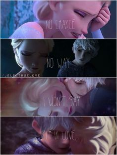 awwww i always lved meg's i wont say im in love and mixed with a jelsa picture is just the most perect thing ever heard or sawn Jelsa, Elsa E Jack, Jack Frost And Elsa, Elsa Frozen, Disney Frozen, Disney Jokes, Funny Disney Memes, Arte Disney, Disney Art