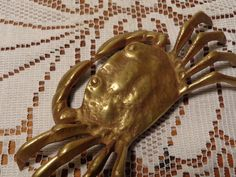 Vintage Brass Crab - Solid Brass Paperweight  -  16-258 by BubbiesMemories on Etsy