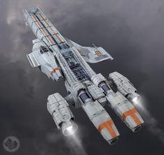 Wow celui est stylé, et la non symetrie rends bien, mais c'est un vaisseau civil ^^ manque de canon, faut faire un regime d'armement