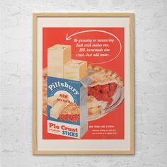 VINTAGE RED KITCHEN Poster - Retro Mid-Century Ad - Vintage Pillsbury Pie Crust Ad Kitchen Wall Art 1950's Retro Ad Red Retro Art
